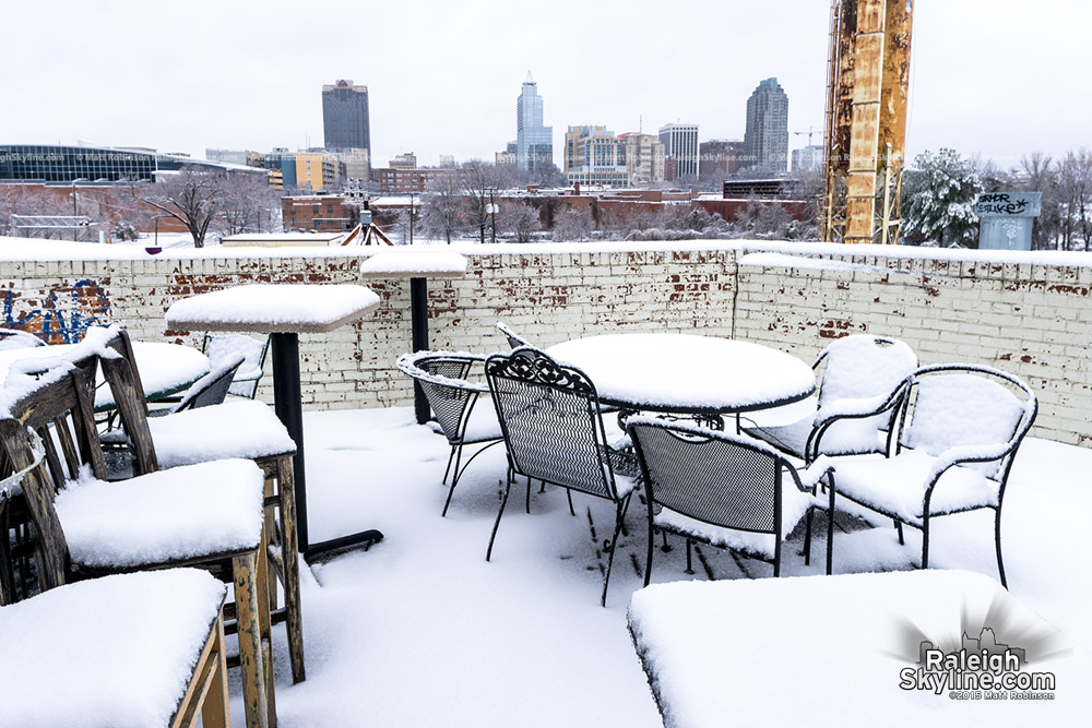 Snow covers the Brewpub with Raleigh