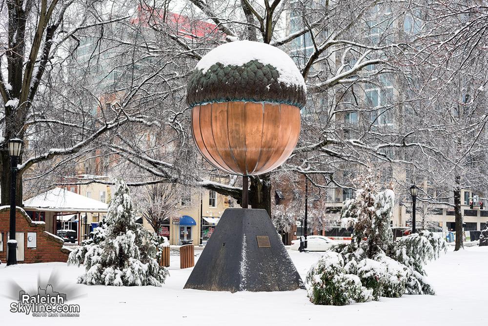 Giant acorn in the snow