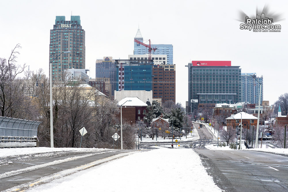 Wilmington Street Skyline view in the snow