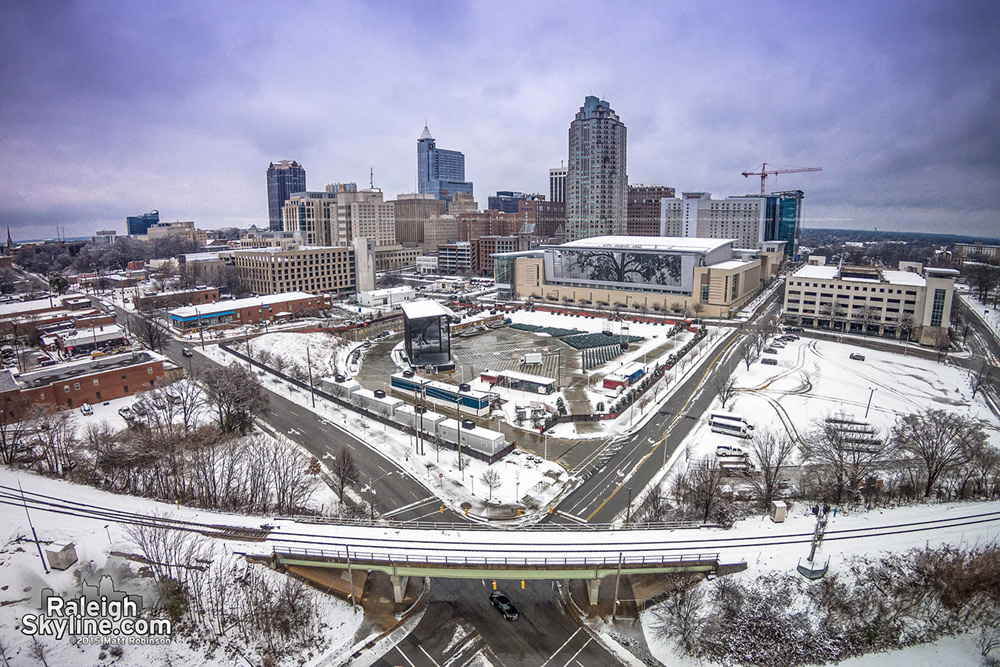Aerial of Downtown Raleigh in the snow - Dawson and Lenoir Streets