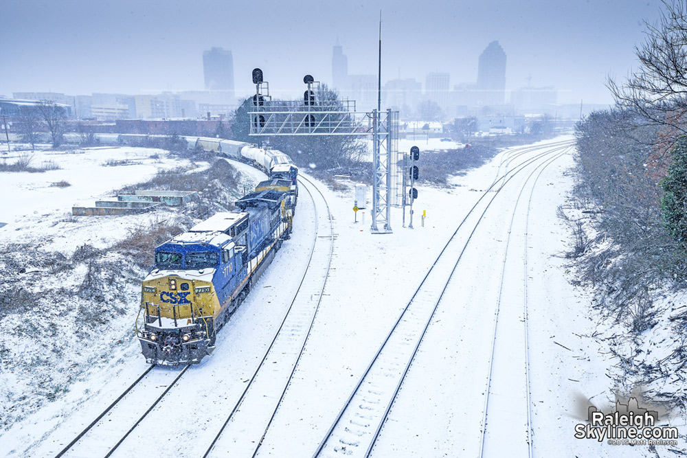 Snowy Train at the Boylan Wye in downtown Raleigh