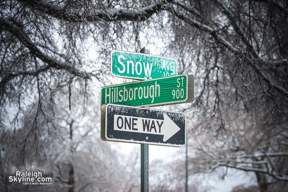Snow and Hillsborough Street with snow
