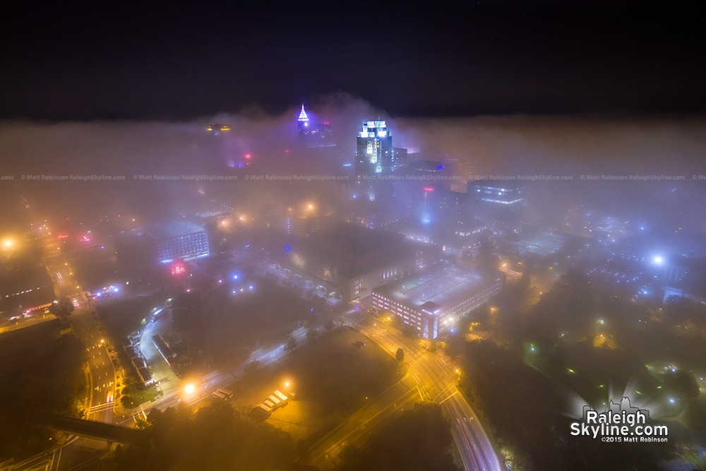 Raleigh in the night fog