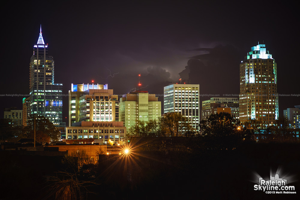 Distant storm behind downtown Raleigh