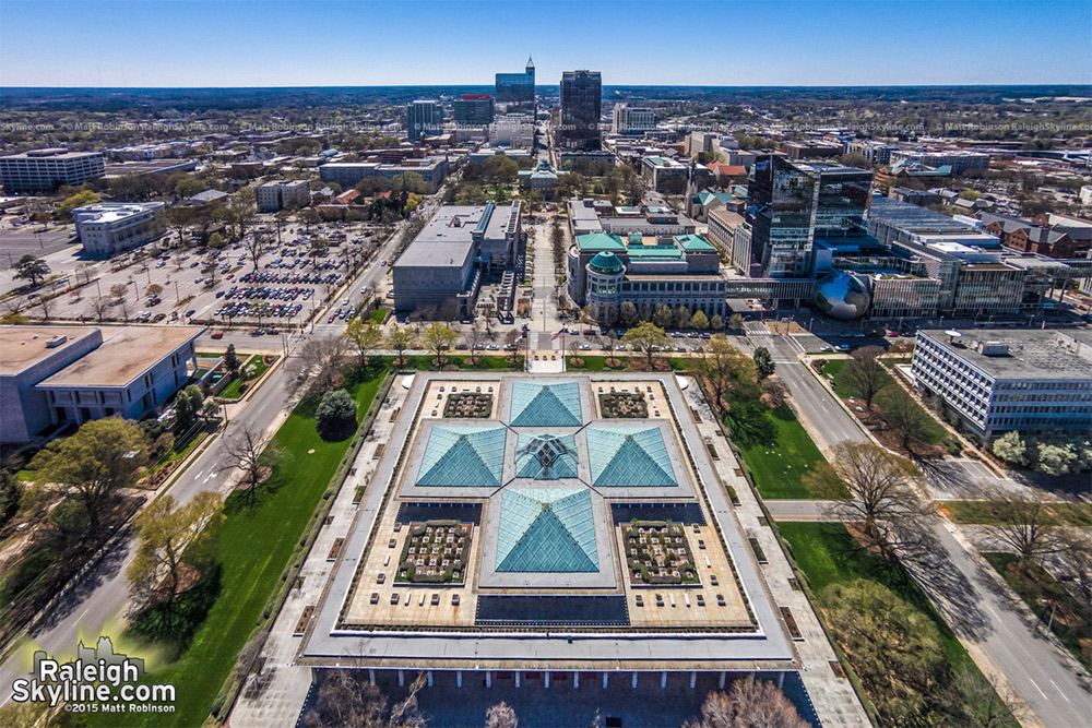 Overlooking the NC General Assembly, museums, Capitol - down Fayetteville Street to the Memorial Auditorium