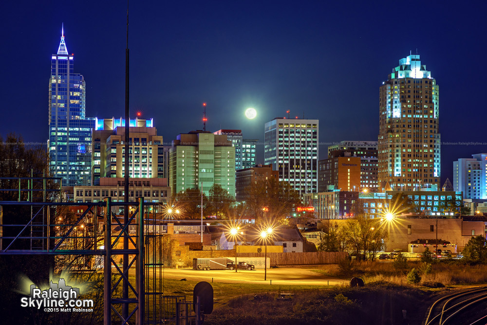 Full moon rise behind Raleigh Skyline