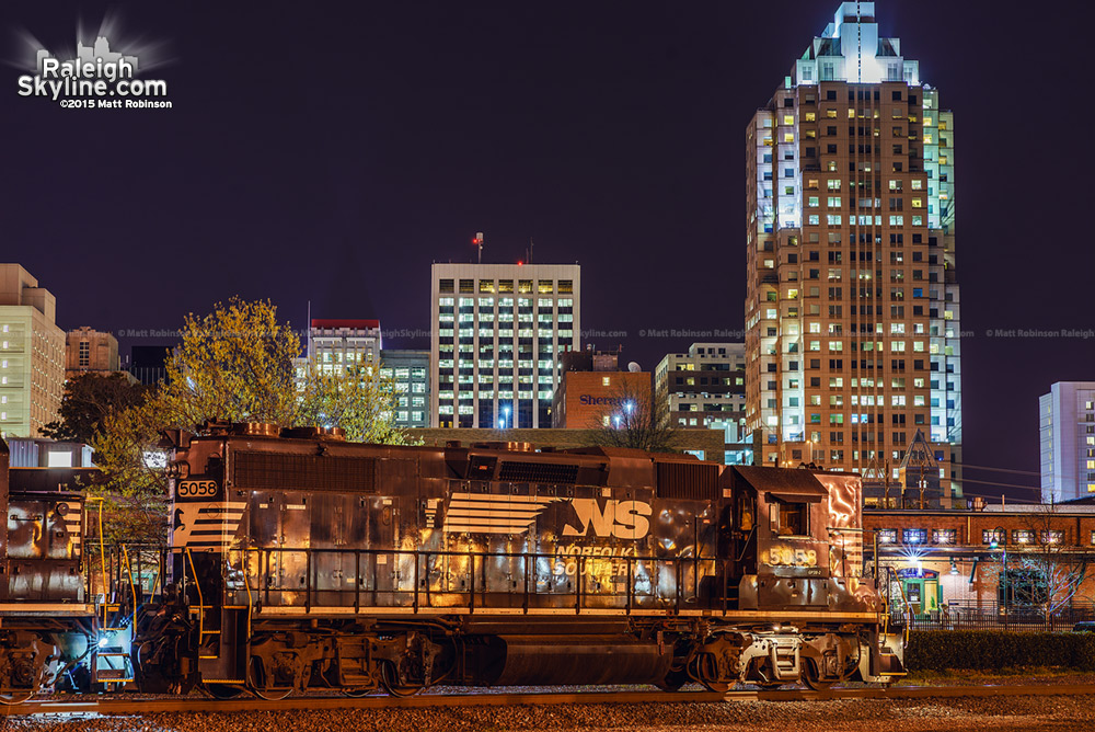 Norfolk Southern locomotives with downtown Raleigh from the Amtrak Platform