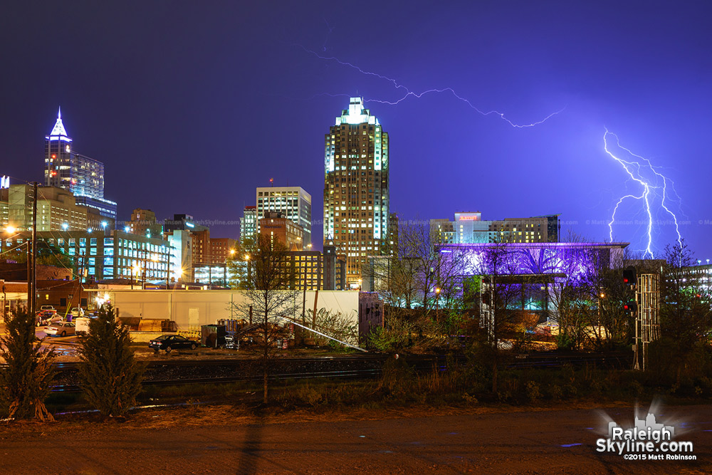 Lightning over the Raleigh skyline in the spring