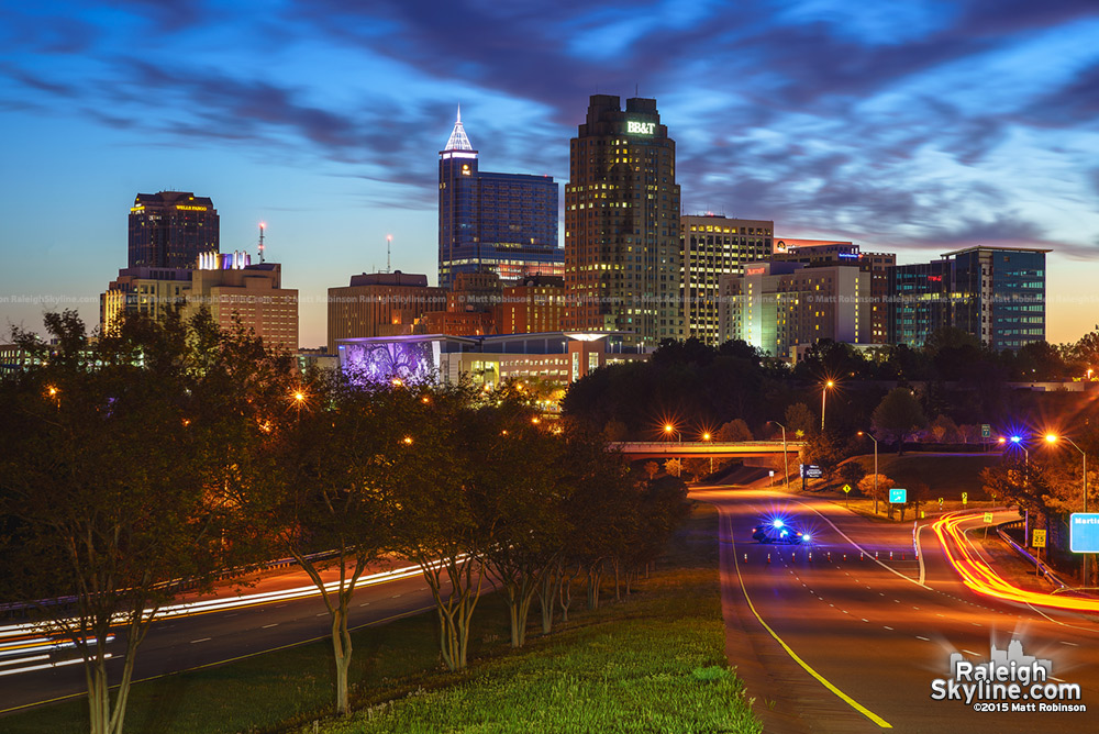 Raleigh skyline at sunrise in 2015