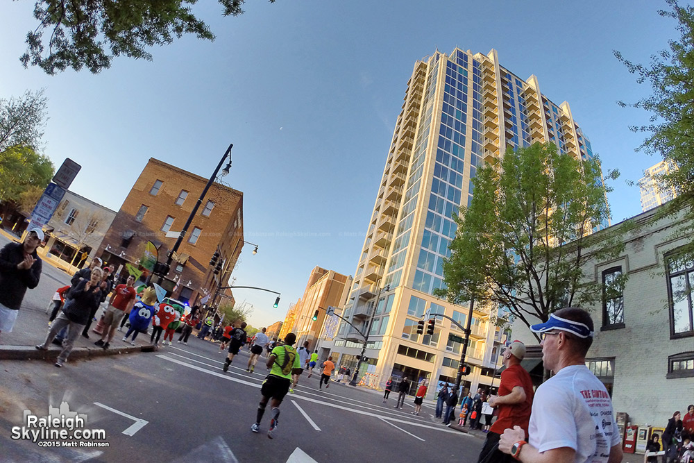 Running past Skyhouse and City Plaza during the Raleigh Rock and Roll Half Marathon