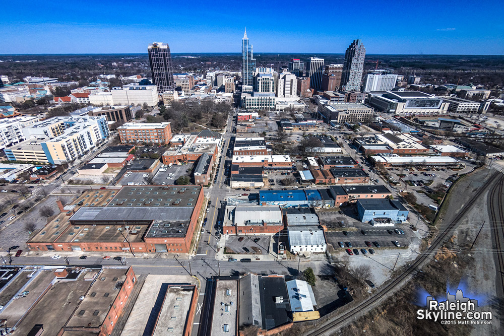 Aerial from the Raleigh's Warehouse District