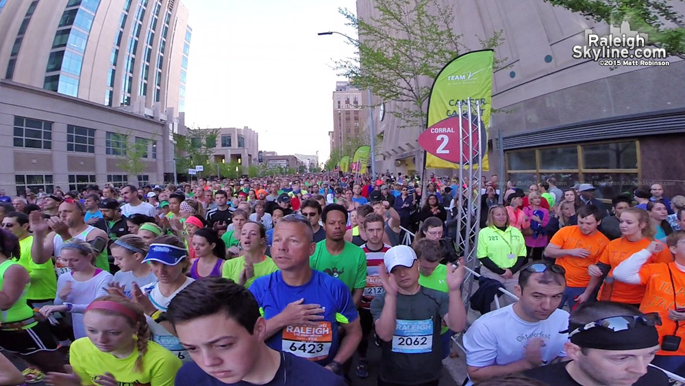 Before the start of the 2015 Raleigh Rock and Roll Marathon
