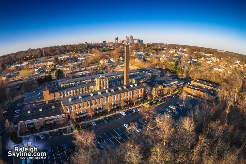Aerial of Caraleigh Mills with Downtown Raleigh
