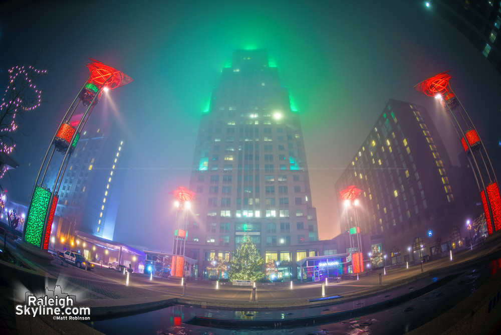 Raleigh City Plaza in the fog at Christmas