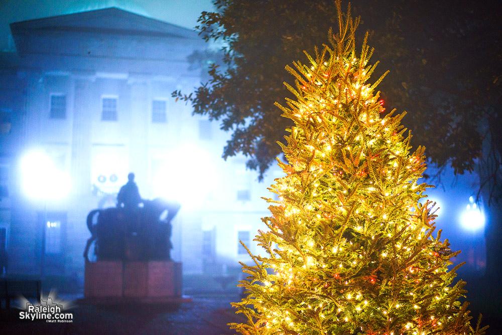 Foggy Christmas Tree at the North Carolina State Capitol