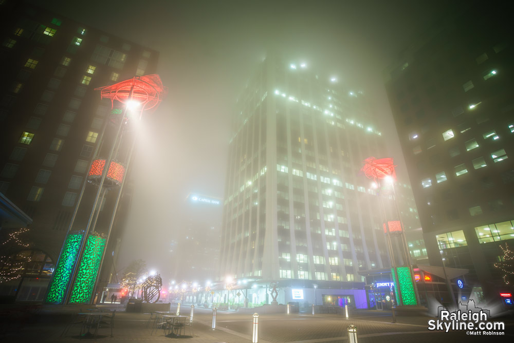 City Plaza and Downtown Raleigh in the fog at night