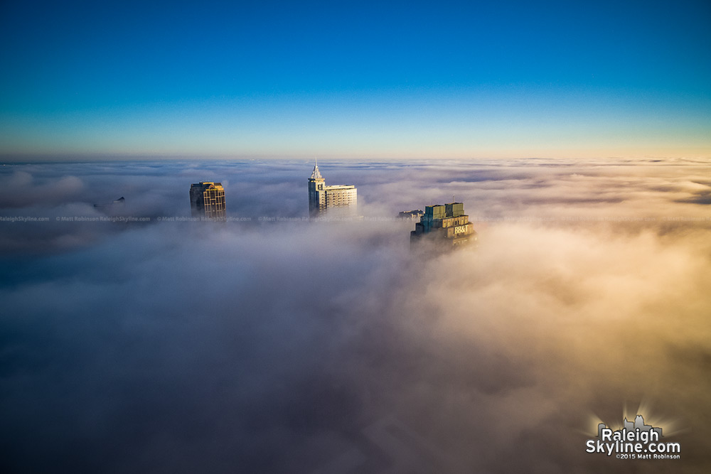 Downtown Raleigh rises above the fog