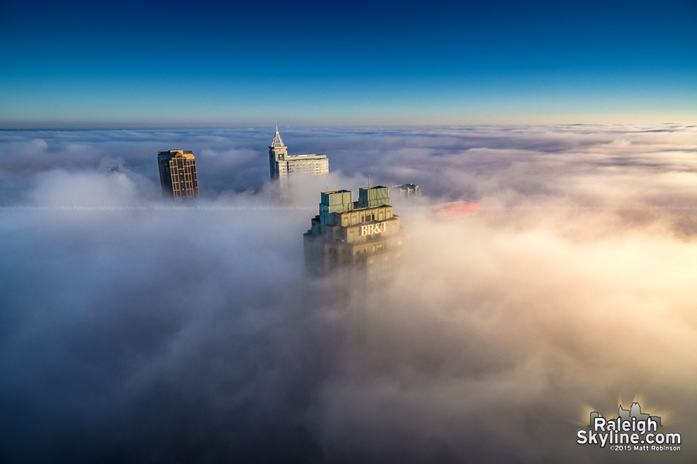 Downtown Raleigh pokes out of fog on December 8, 2015