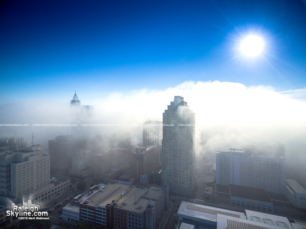 Half of Downtown Raleigh covered in fog