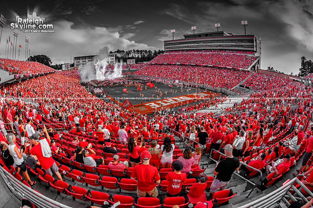 Black and White and Red Carter Finley Stadium NCSU Wolfpack Football game