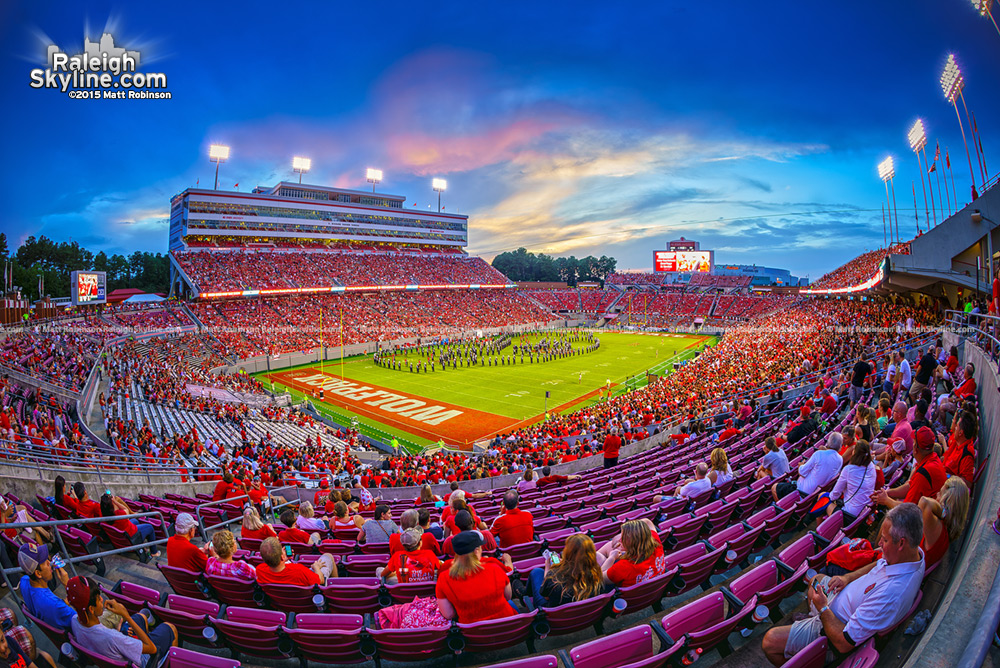 Halftime sunset at Carter Finley Stadium Wolfpack Football