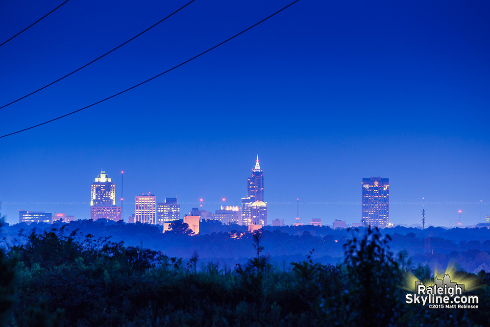 Distant Raleigh from Knightdale at dusk