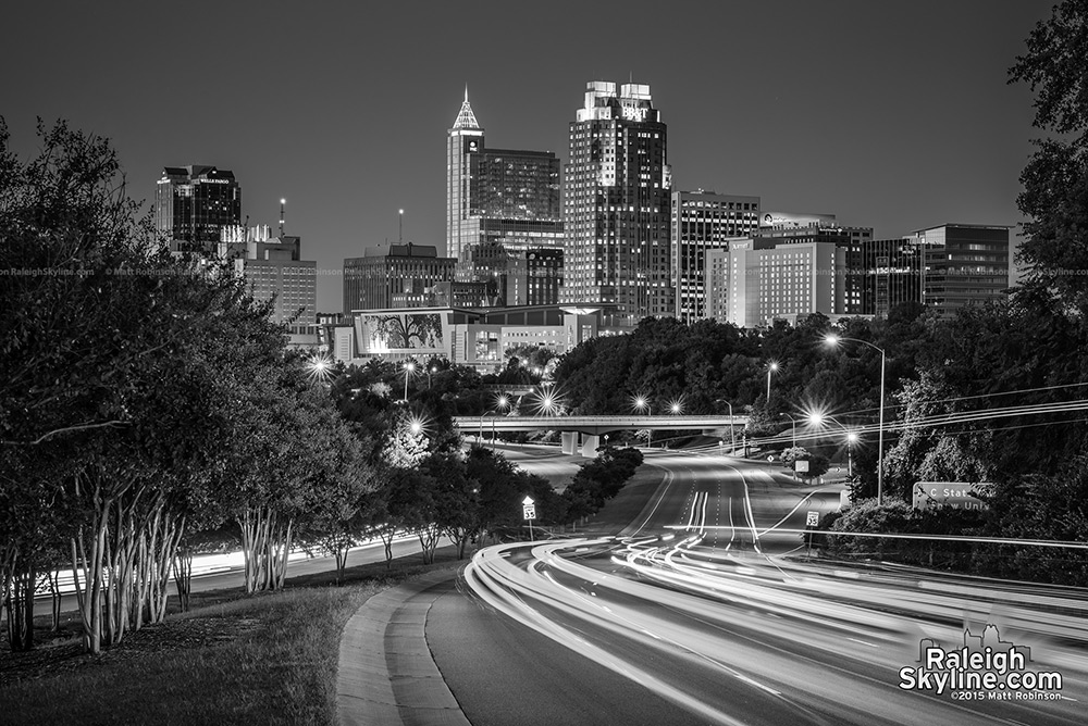 Black and White Downtown Raleigh NC Skyline 2015