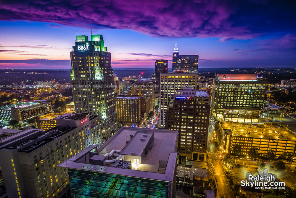 Spectacular Sunset over downtown Raleigh