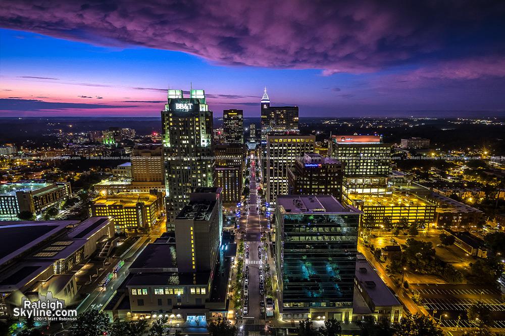 Sunset Aerial over Fayetteville Street