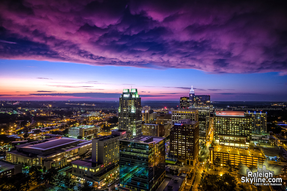 Aerial Sunset over Downtown Raleigh Skyline