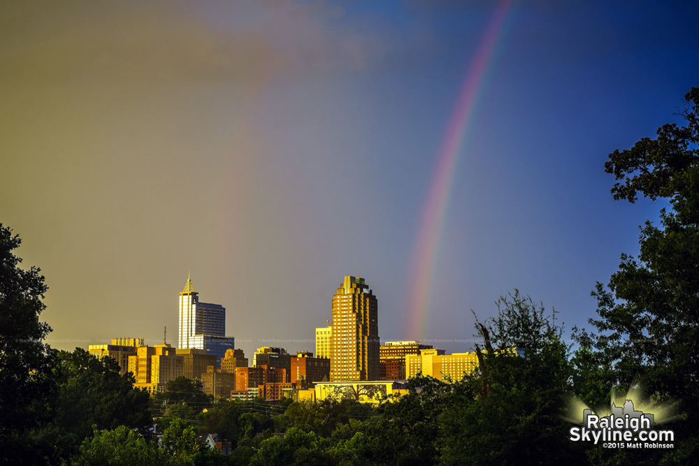 Rainbow into downtown Raleigh 2015