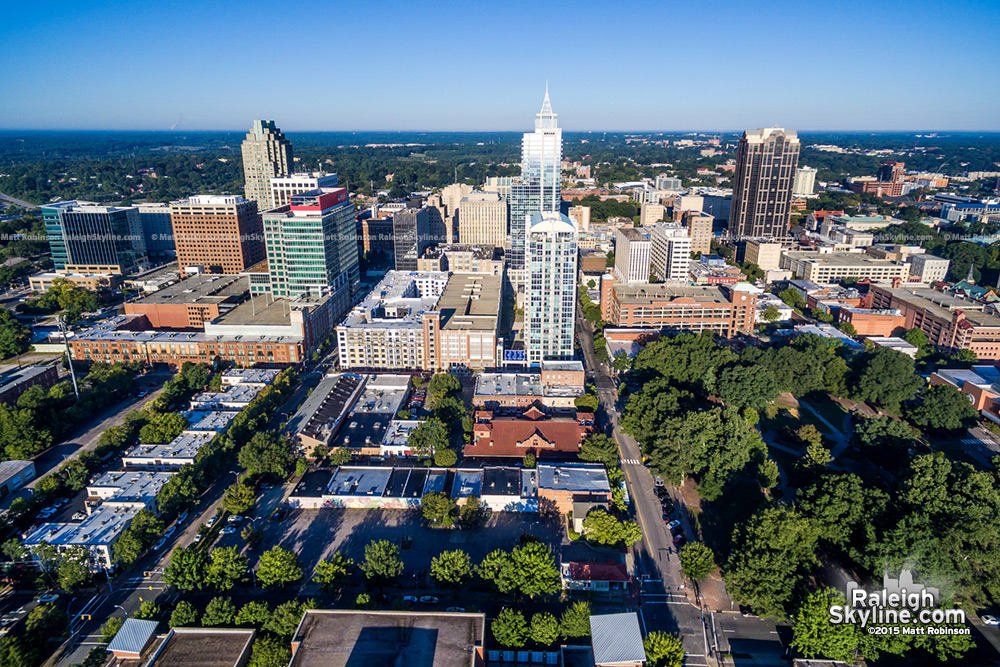 Morning Downtown Raleigh Aerial looking west