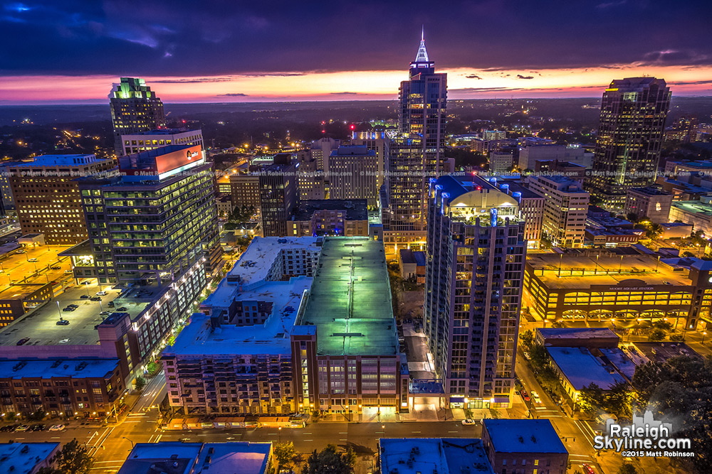 Aerial over downtown Raleigh at night