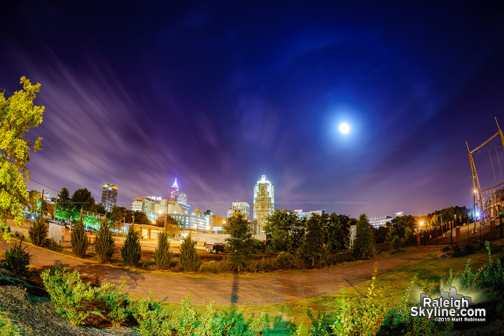 Lunar Halo over downtown Raleigh during supermoon eclipse