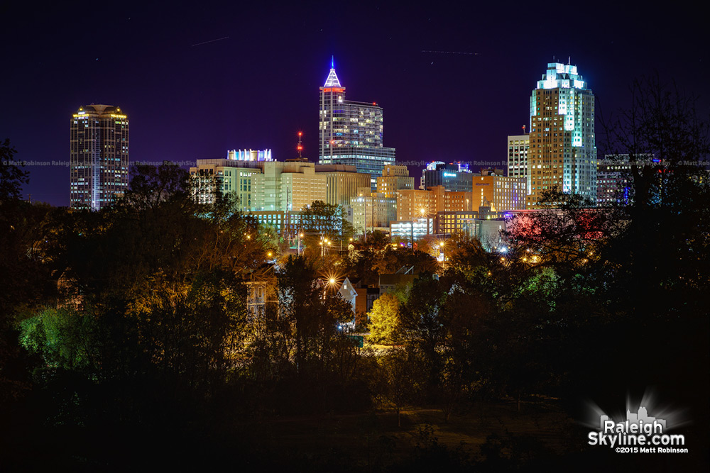 Downtown Raleigh with Paris France Colors at night