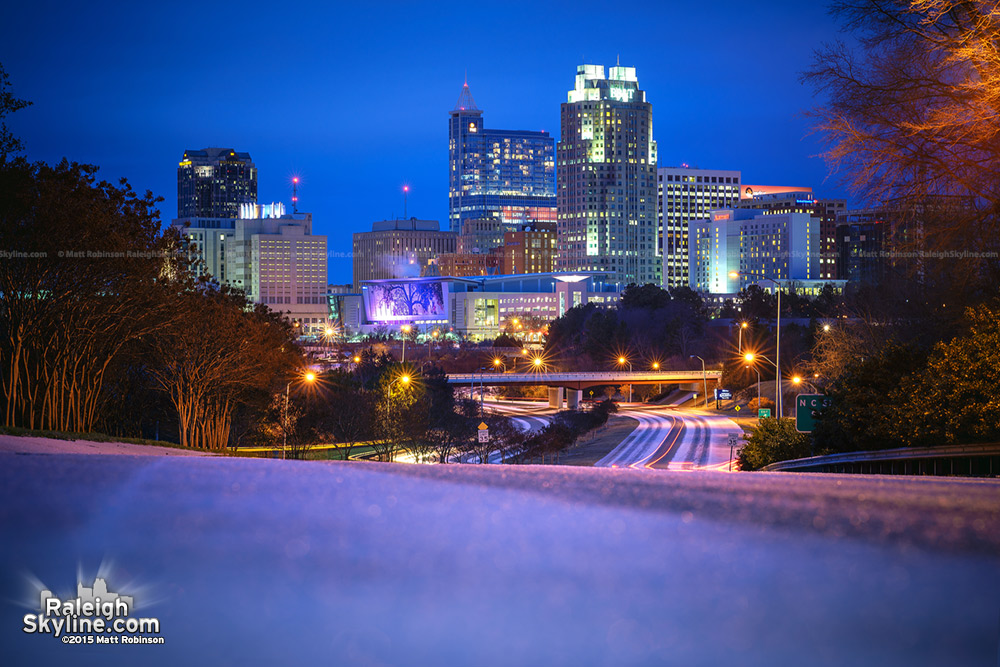 Downtown Raleigh in the Snow at night - 2015