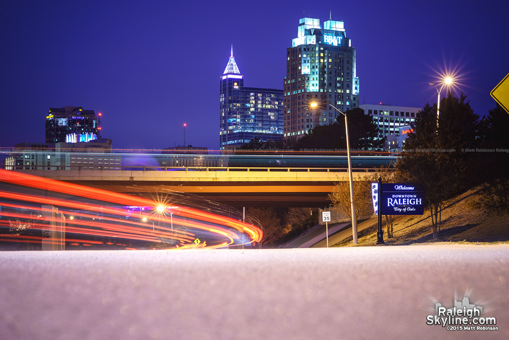 Raleigh skyline in the snow - 2015