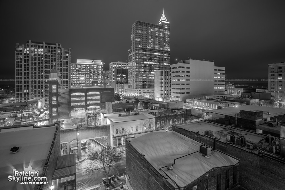 Black and White Raleigh at night