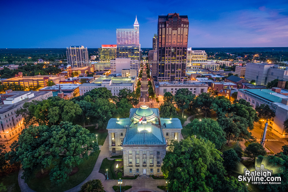 Aerial of Raleigh looking South over the NC Capitol Building