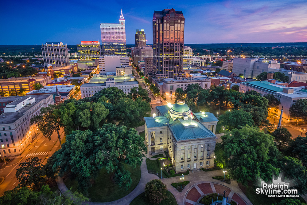 Evening aerial over North Carolina State Capitol