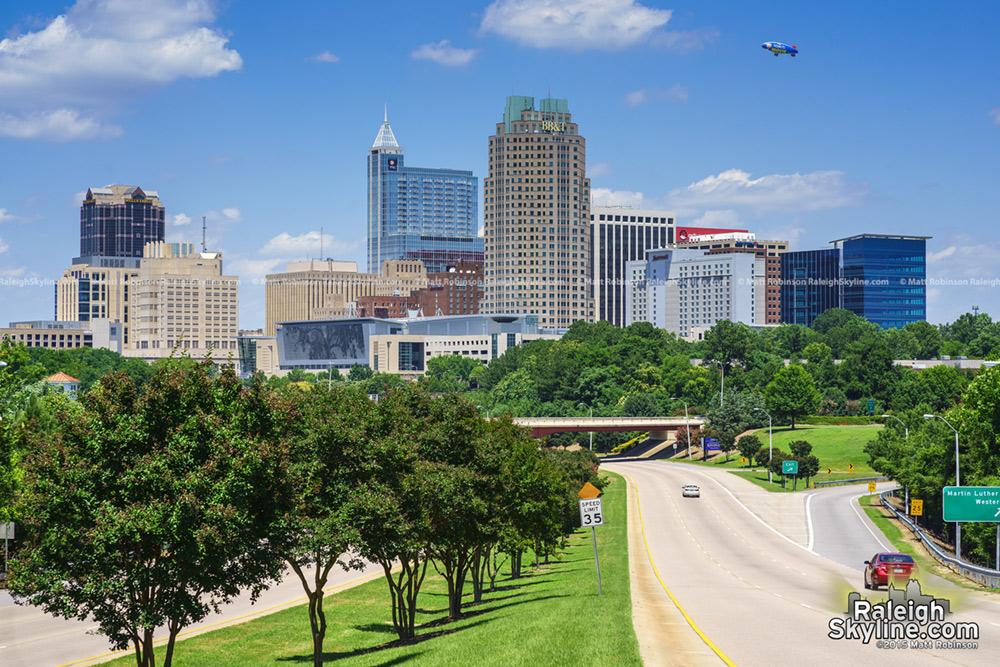 Met Life Blimp over the Raleigh skyline