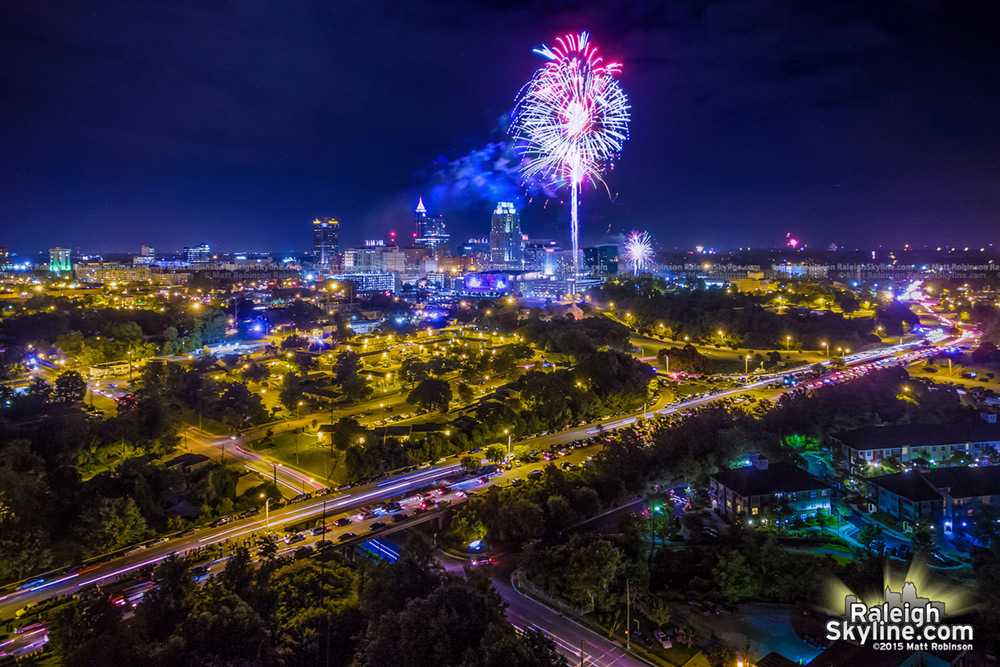 Fireworks over downtown Raleigh on July 4th 2015