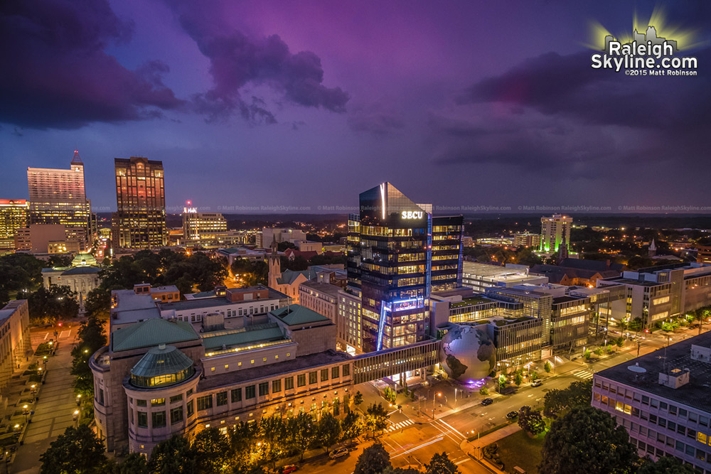 Skies over downtown Raleigh and the daily planet tonight as thunderstorms creep by to the south