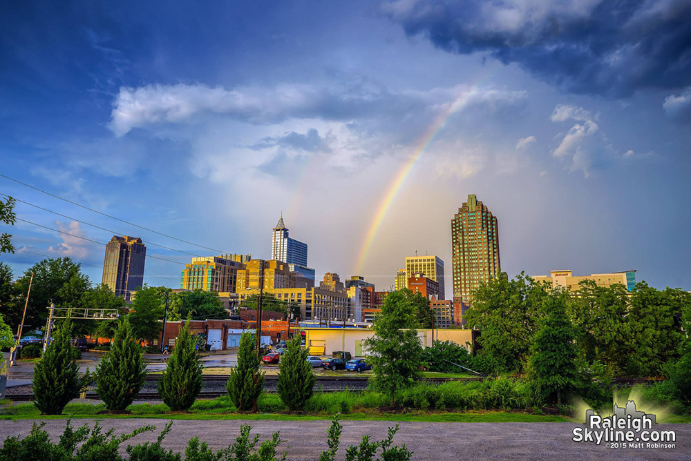 Rainbow over downtown Raleigh on July 21, 2015