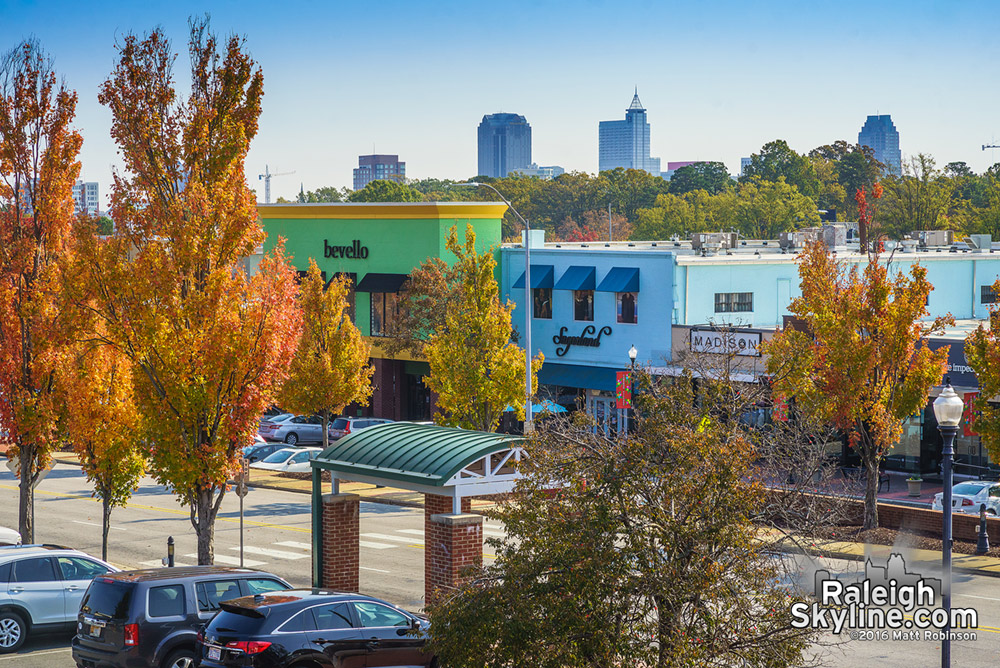 Downtown Raleigh from Cameron Village with Fall Foliage