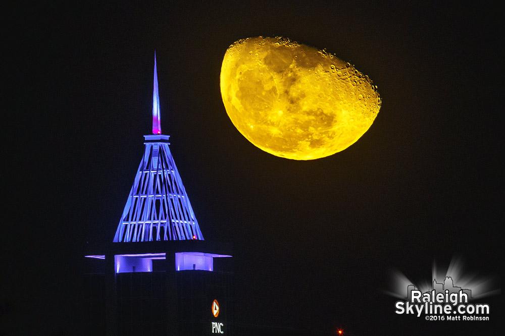 Smokey moon rises behind PNC Plaza