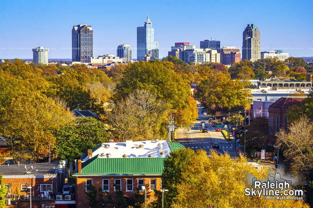 Downtown Raleigh and Hillsborough Street with Fall Colors