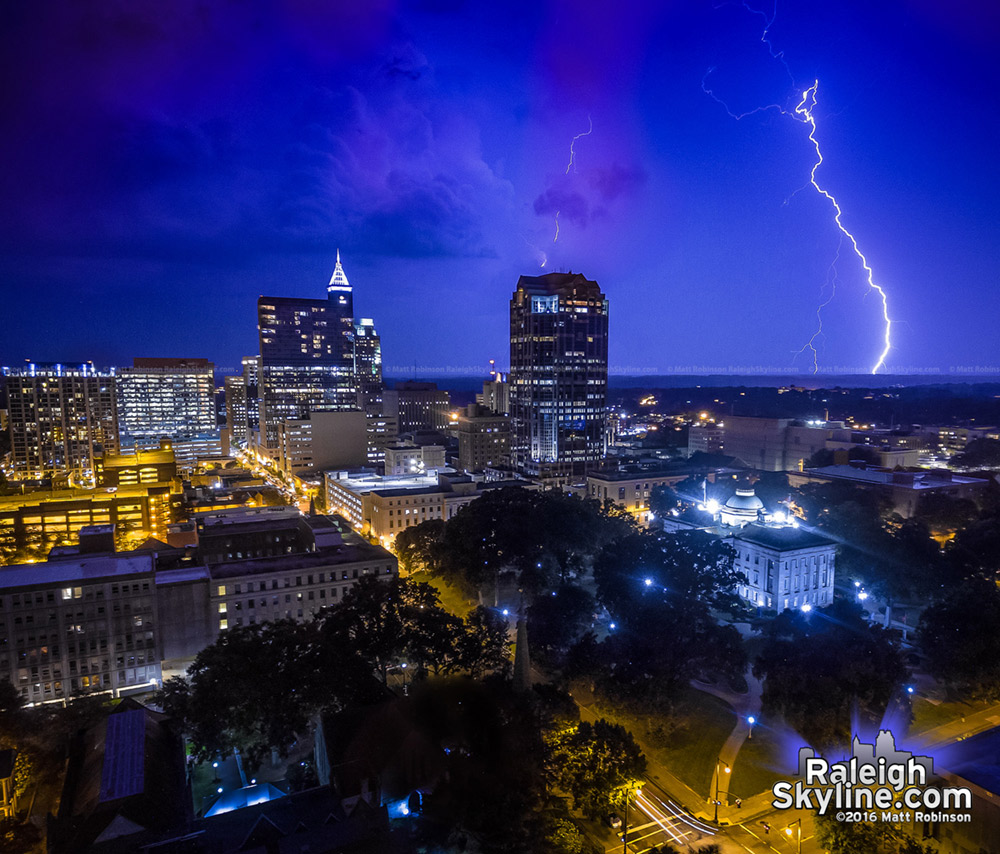Lightning strike over Raleigh
