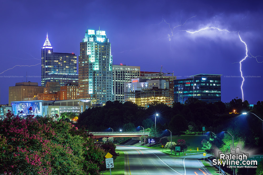July 31, 2016 Lightning over Raleigh Skyline