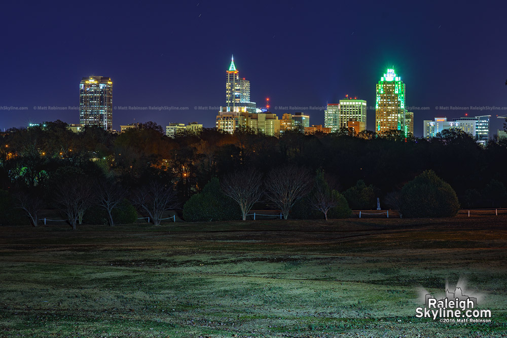 Raleigh Skyline at Christmas from Dorothea Dix